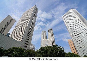 bâtiments, shinjuku, bureau