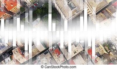 bâtiments, sommet, vue ville