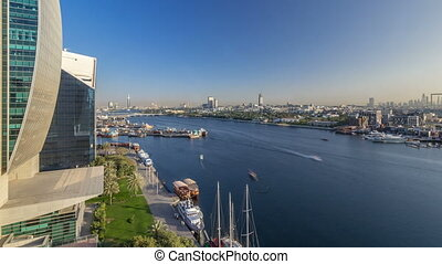 bâtiments, timelapse, ruisseau, moderne, dubai, coucher soleil, fond, bateaux, pendant, bateau, port, paysage