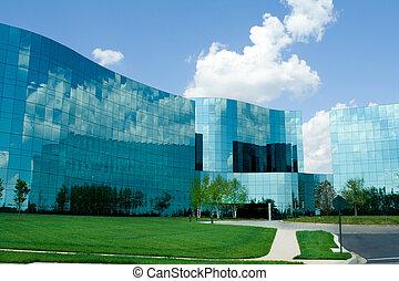bâtiments, uni, bureau, suburbain, states., moderne, verre, maryland, ondulé, ultra