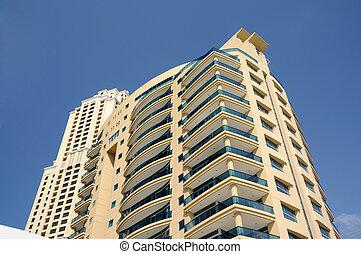 bâtiments, uni, moderne, arabe, highrise, emirats, dubai