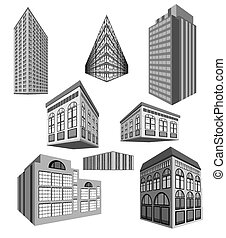 bâtiments, vecteur, ensemble