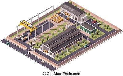 bâtiments, vecteur, isométrique, icône, usine