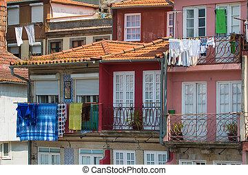 bâtiments, vieux, oporto