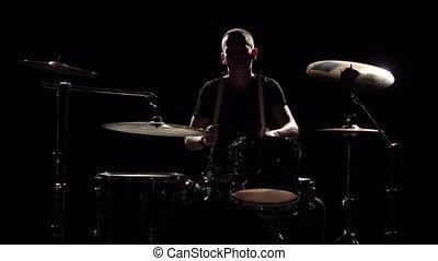 bâtons., bon, jeux, musicien, professionally, silhouette., mouvement, arrière-plan., lent, musique, tambours, utilisation, noir