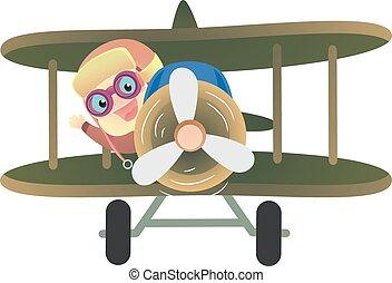 bébé, équitation, avion, pilote