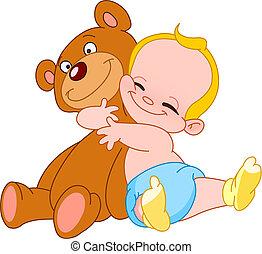bébé, étreinte, ours