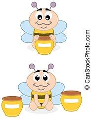 bébé, abeille miel
