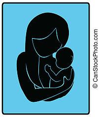 bébé, amour, mère