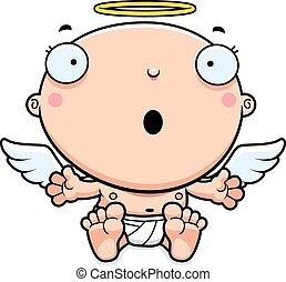 bébé, ange, dessin animé, surpris