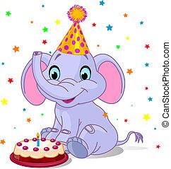 bébé, anniversaire, éléphant