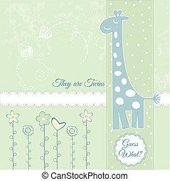 bébé, annonce, girafe, carte, nouveau