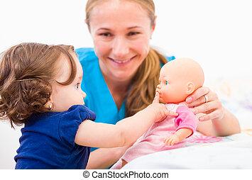 bébé, baby-sitter, adorable