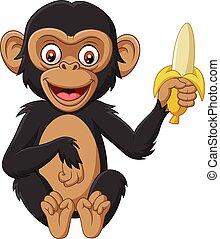 bébé, banane, dessin animé, chimpanzé, tenue
