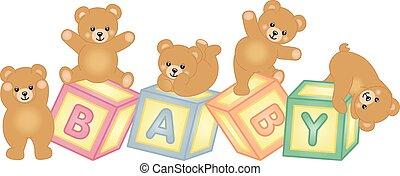 bébé bloque, ours peluche