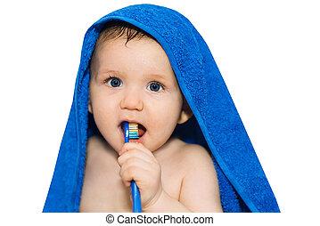 bébé, brossage, peu, sien, dents