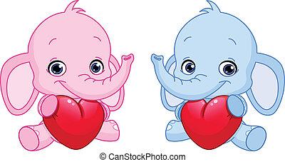 bébé, cœurs, tenue, éléphants
