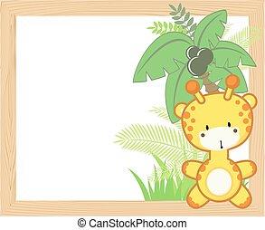 bébé, cadre, girafe