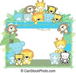 bébé, cadre, safari