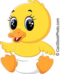 bébé, canard, dessin animé, mignon