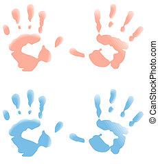 bébé, caractères, main