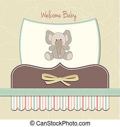 bébé, carte, nouveau, éléphant