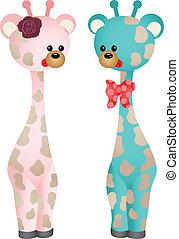 bébé, couple, girafes