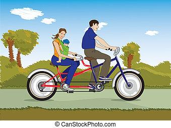 bébé, couple marié, vélo