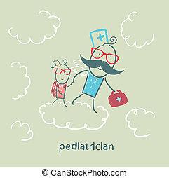 bébé, courses, nuages, pédiatre