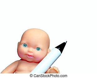 bébé, crayon, jouet, photo