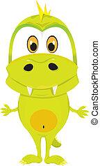 bébé, crocodile., dessin animé