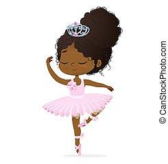 bébé, danse, girl, mignon, ballerine, africaine, princesse