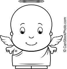 bébé, dessin animé, ange