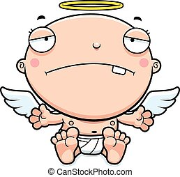 bébé, dessin animé, ange, triste