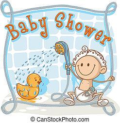 bébé, dessin animé, douche, invitation
