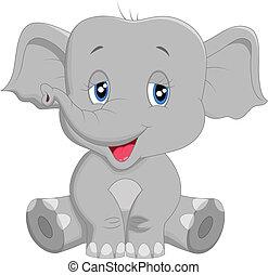 bébé, dessin animé, mignon, éléphant