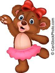 bébé, dessin animé, ours, danse