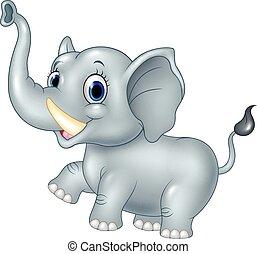 bébé, dessin animé, rigolote, éléphant