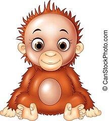 bébé, dessin animé, rigolote, orang-outan