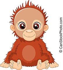bébé, dessin animé, séance orangutan