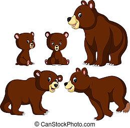 bébé, différent, poser, collection, ours