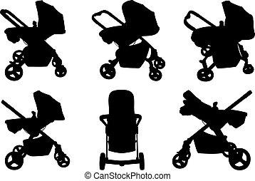 bébé, différent, promeneurs, ensemble