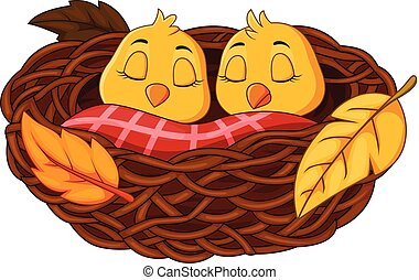 bébé, dormir, dessin animé, nid oiseau
