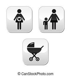 bébé, ensemble, boutons, grossesse