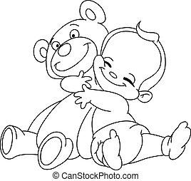 bébé, esquissé, étreinte, ours