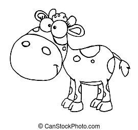 bébé, esquissé, vache