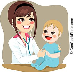 bébé, examiner, pédiatre