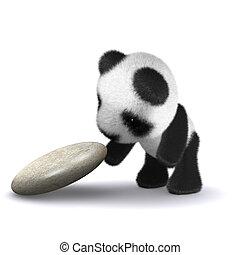 bébé, explore, panda, 3d