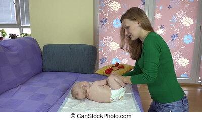 bébé, femme, exercice