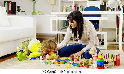 bébé, femme, fille, jouer